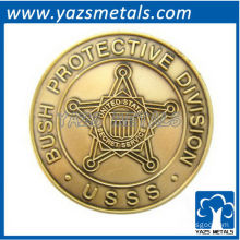 custom commemorate coin, custom made president protect with antique brass plating